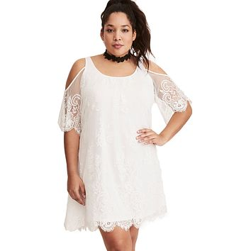 White Plus Size Lace Cold Shoulder Trapeze Dress