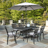 Largo Charcoal 7 Piece Dining Set With Umbrella And Cushions Home Styles Furniture Furnitu