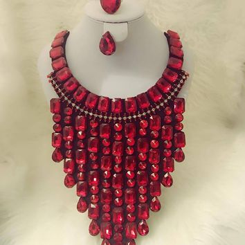 Fashion Red Statement Necklace with Earrings & Ring Set