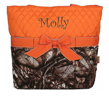 Personalized Camo Diaper Baby, Boys Diaper Bag, Camo Diaper Bag, Girls Diaper Bag, Mens Diaper Bag, Woods Camo Orange Trim Women's Bag Pink