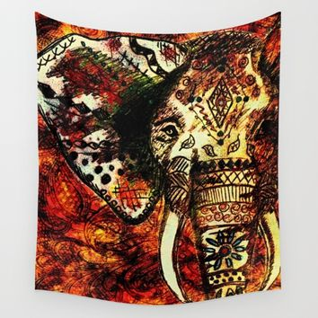 Patterned Sketched Elephant Wall Tapestry by Inspired Images