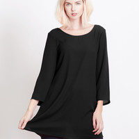 LE3NO Womens Flowy 3/4 Bell Sleeve Chiffon Tunic Blouse Top