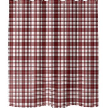 NOHO PLAID RED Shower Curtain By Terri Ellis