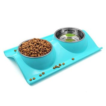 Double Dog Cat Bowls Stainless Steel Pet Bowl No-skid No Spill Food Water Feeder(Blue)