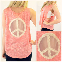 Peace Love and Lace Coral Tank Top