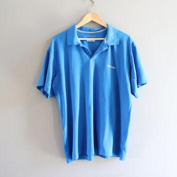 Columbia Polo Shirt Blue Golf Activewear Loose Fit Vintage 90s Size XL #T125A