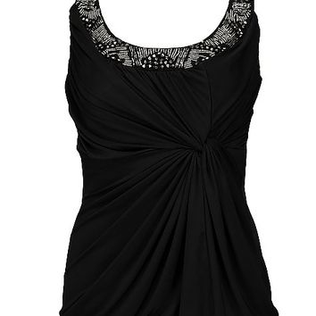 Women's Knotted Tank Topin Black by Daytrip.