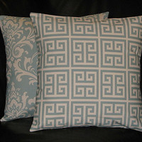 """Decorative Pillows SPA BLUE set of TWO coordinating 20"""" Pillow Covers Greek Key, Damask 20 inch"""