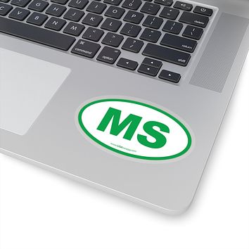 Mississippi MS Euro Oval Sticker GREEN
