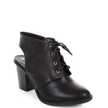 Wide Fit Black Lace Up Sling Back Boots