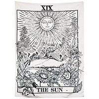 "BLEUM CADE Tarot Tapestry The Moon The Star The Sun Tapestry Medieval Europe Divination Tapestry Wall Hanging Tapestries Mysterious Wall Tapestry for Home Decor (51""×59"", The Sun)"