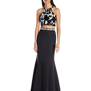 Sequin Hearts by My Michelle Junior's Two Piece Long Prom Dress with Floral Top