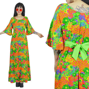 vintage 70s floral maxi dress neon psychedelic hippie boho flower power dress lime green BOW tie bell sleeve medium