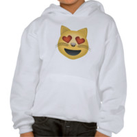 Smiling Cat Face With Heart Shaped Eyes Emoji Hoodies