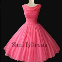 1950's vintage retro hot pink prom dress short pink evening dress ,pageant dress pink , 1960's vintage knee length bridesmaid for wedding