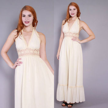 70s GAUZE Halter DRESS / 1970s Boho Ivory Cotton Sheer Crochet Backless Maxi Dress xs