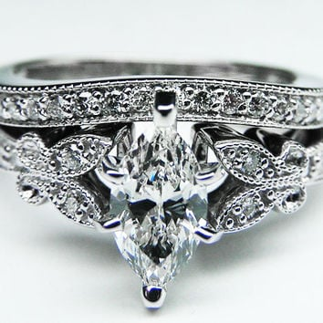 Engagement Ring - Marquise Diamond Butterfly Vintage Engagement Ring setting & Matching Wedding Band 0.16 tcw. In 14K White Gold - ES334MQBSWG