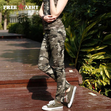 2016 Fashion Brand Sport Trousers Women Pants Slim Fit Camo Jogger Denim Pants Sweatpants Cotton Capri Pants Gk-985