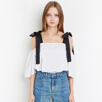 Fashion Bow Shirt Women Casual Solid White Off-Shoulder Lady Tops Summer Slash Neck Half Sleeve Cute Blouse