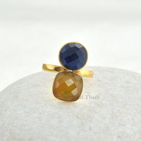 Sapphire Quartz and Yellow Chalcedony Micron Gold Plated 925 Sterling Silver Bezel Ring - #9712