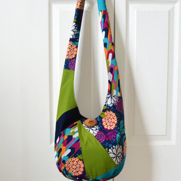 Hobo Bag, Sling Bag, Patchwork, Crazy Quilt, Geometric, Floral, Navy Blue, Green, Orange, Hippie Purse, Cross Body Bag