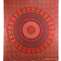 Indian Red Floral Hippie Bohemian Mandala Tapestry Coverlet