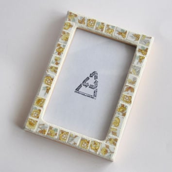 Mosaic Picture Frame 4x6 Gold Rose Floral