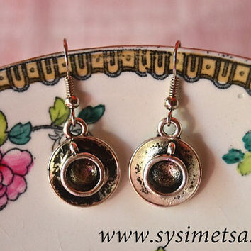 Coffee Cup Earrings - Antique Silver Tea Cup Charm Earrings - Nickel Free