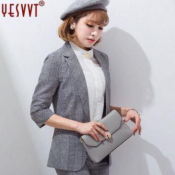 VONG2W YESVVT 2017 women blazers and jackets Plus Size Gray plaid blazer office lady suits high quality Single Button ladies blazers