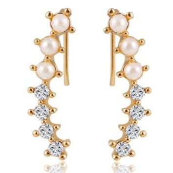 Sweet Gold, Pearls and Crystals Ear Cuff