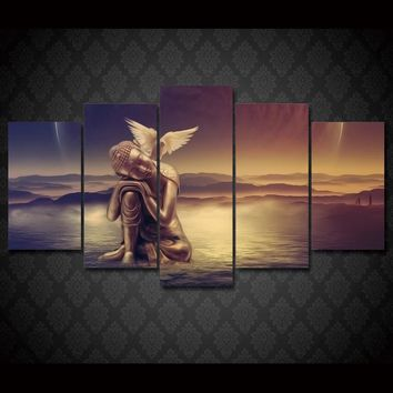 Fast US Ship - Buddha Angel Peace Dove 5 Pcs piece panel canvas wall art picture