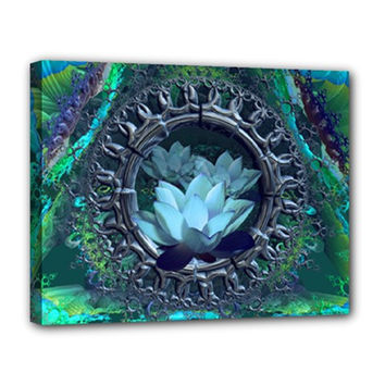 Fractal wall hung stretched canvas art-Lotus meditation-woven-psychede­lic trippy rave-black light gift 14x11x1