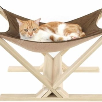 Cat Hammock with Wood Stand