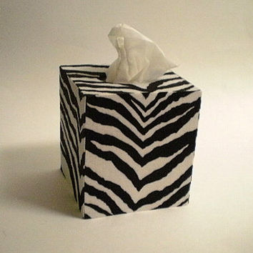 ZEBRA PRINT Tissue Box Cover - Decorative Zebra Print Square Cover
