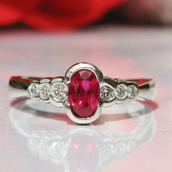 Genuine Ruby and Diamond Engagement Ring Vintage 14K White Gold Semi Bezel Set Romantic Ruby Ring July Birthstone Ring!