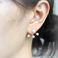 Fresh Water Pearl and 3 CZ earrings / choose your color, gold and silver