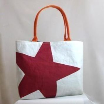 Recycled Sail Purse Red Star by reiter8 on Etsy
