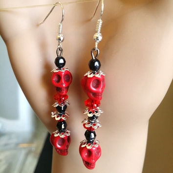 red & black turquoise sugar skull earrings long bead drop dangles jewelry handmade day of the dead dia de los muertos skeleton goth jewelry