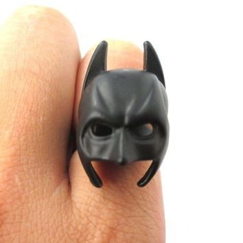 Batman Bat Mask Shaped Adjustable Ring in Black | DC Super Heroes