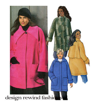HOODiE JACKET PATTERN Coat with Hood Outdoor Fleece Jacket Butterick 4671 Size 18 20 22 24 OR Size 26 28 30 32 UNCuT Womens Sewing Patterns