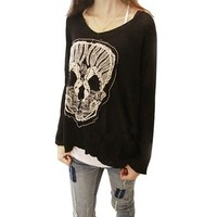 Little Hand Womens Embroidery Skeleton Skull Loose Bat Sleeve T-shirt