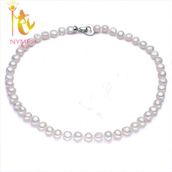 [NYMPH]Genuine Baroque Pearl jewelry Necklace, Fine Jewelry necklaces & pendants, freshwater pearl stone beads Choker necklace