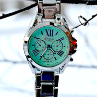 Boyfriend Watch - Mint/Silver