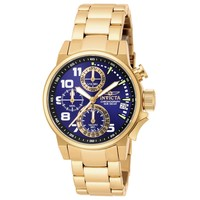 Invicta 17418 Women's I-Force Chronograph Blue Dial Gold Plated Steel Watch