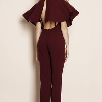 Albatross Cape Backless Crepe Jumpsuit (burgundy)
