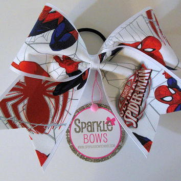 Spiderman Fabric Large Cheer Bow Hair Bow Cheerleading
