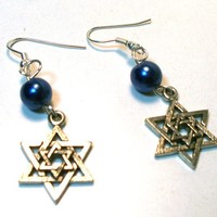 Jewish Star Blue Pearl Earrings