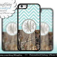 Sky Blue Chevron Monogram iPhone 5C 6 Case Plus iPhone 5s 4 Ipod 4 5 Touch case Real Tree Camo Aqua Teal Zig Zag Personalized Country Girl