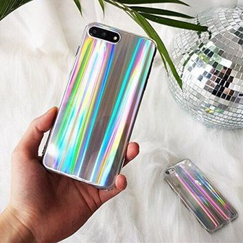 Pikalanary Phone 7 Plus/8 Plus Case Psychedelic Rave Holographic Iridescent Sparkle Bling Glitter Shiny Cover With Laser Beam [Extra Thin Soft TPU Protective Case] (Colorful, iPhone 7 Plus / 8 Plus)