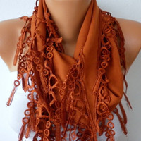 Burnt Umber Scarf  - Cotton  Scarf -  Cowl with Lace Edge